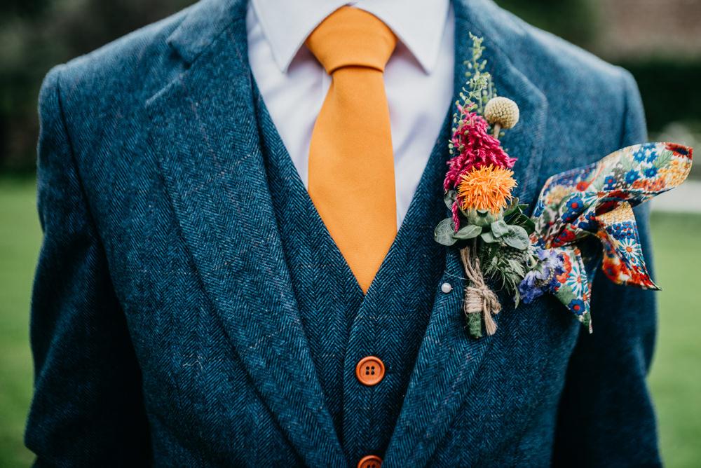 Grooom Suit Blue Tweed Orange Tie Buttonhole Flowers Church Farm Wedding Andrew Brannan Photography