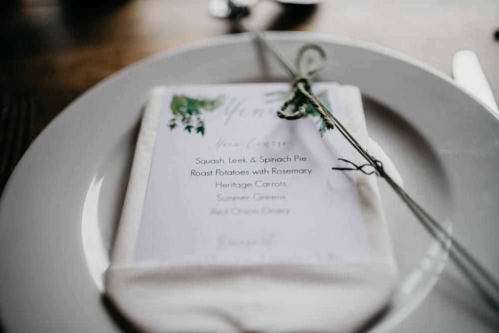 Menu Place Setting Church Farm Wedding Andrew Brannan Photography