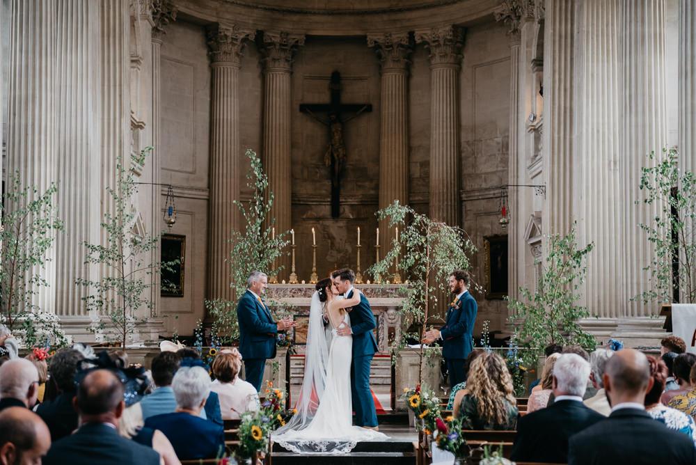 Tree Ceremony Aisle Decor Church Farm Wedding Andrew Brannan Photography