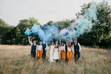 Smoke Bomb Church Farm Wedding Andrew Brannan Photography