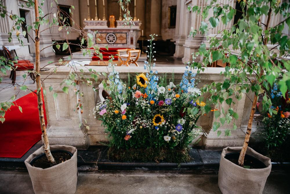 Church Flowers Meadow Ceremony Aisle Church Farm Wedding Andrew Brannan Photography
