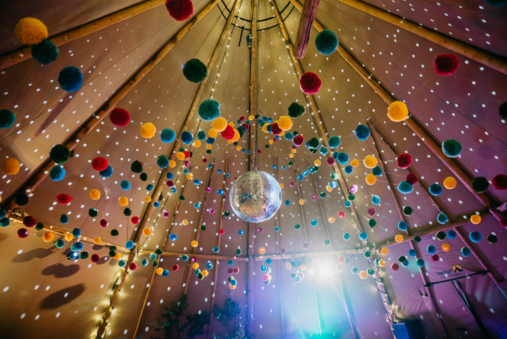 Tipi Pom Poms Disco Ball Church Farm Wedding Andrew Brannan Photography