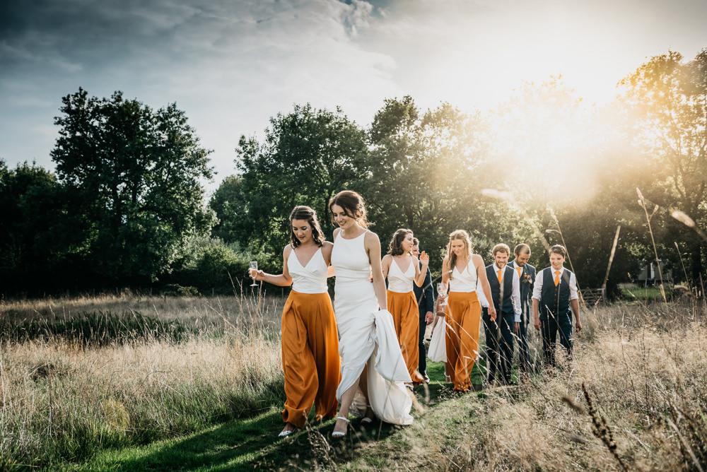 Bridesmaids Orange Trousers Bridesmaid Church Farm Wedding Andrew Brannan Photography