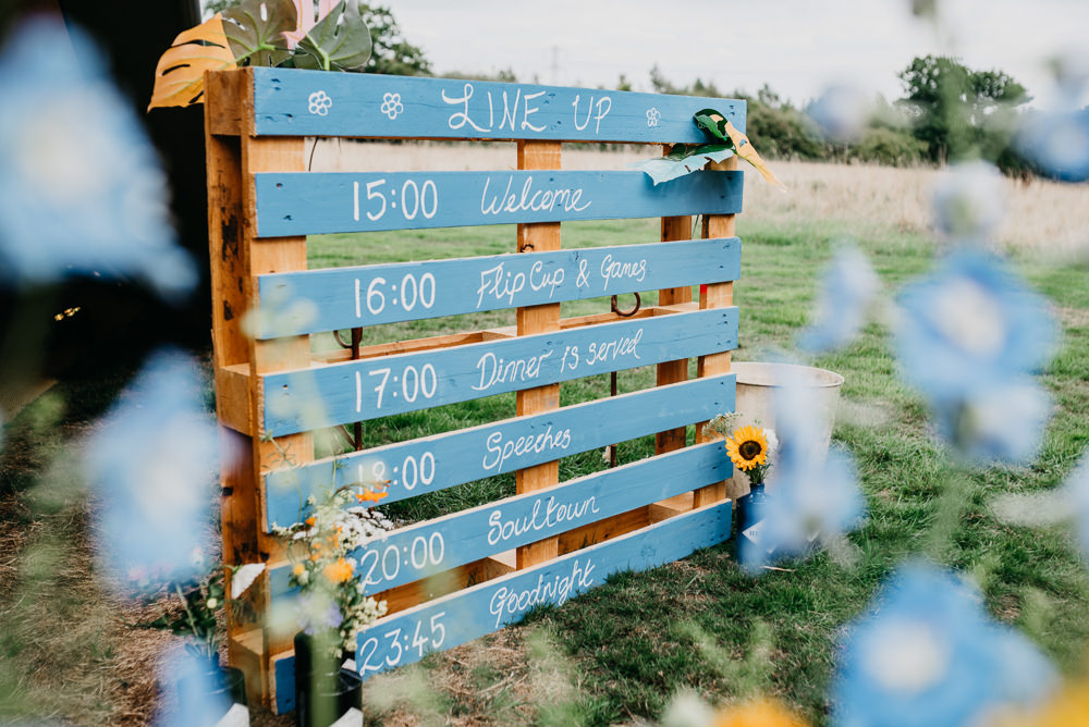 Painted Wooden Pallet Sign Order of the Day Church Farm Wedding Andrew Brannan Photography