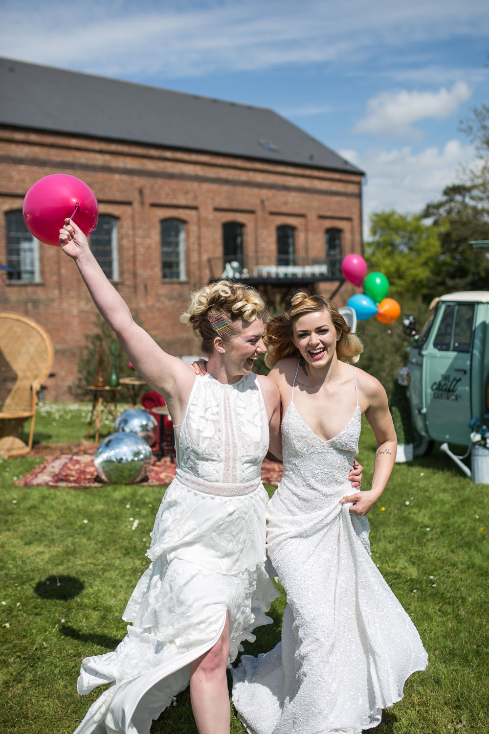Bride Bridal Dress Gown Colourful Balloons Wedding Ideas Florence Berry Photography
