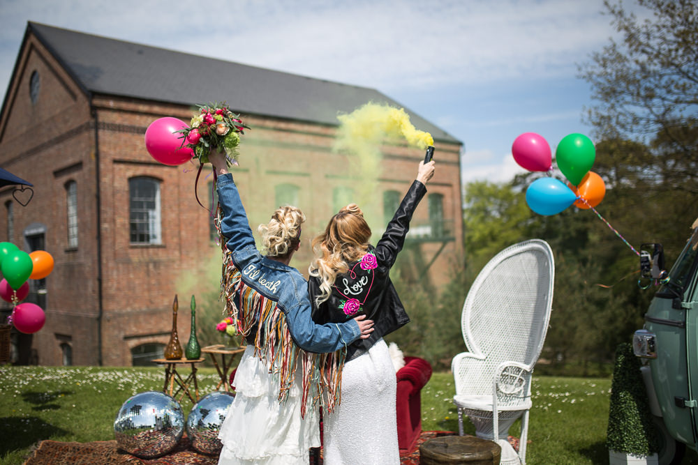 Smoke Bombs Colourful Balloons Wedding Ideas Florence Berry Photography