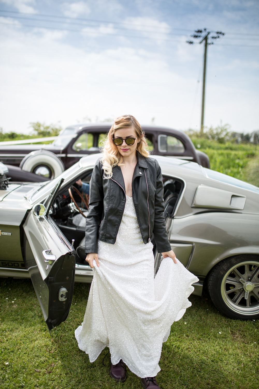 Leather Jacket Bride Bridal Sunglasses Colourful Balloons Wedding Ideas Florence Berry Photography
