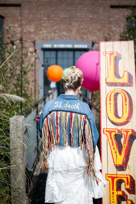 Denim Jacket Personalised Bride Bridal Tassel Fringed Colourful Balloons Wedding Ideas Florence Berry Photography