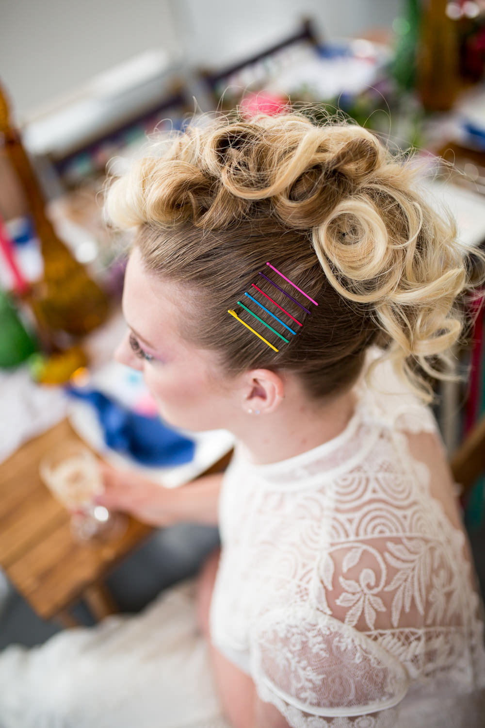 Hair Style Up Do Mohawk Bride Bridal Hair Pins Colourful Balloons Wedding Ideas Florence Berry Photography