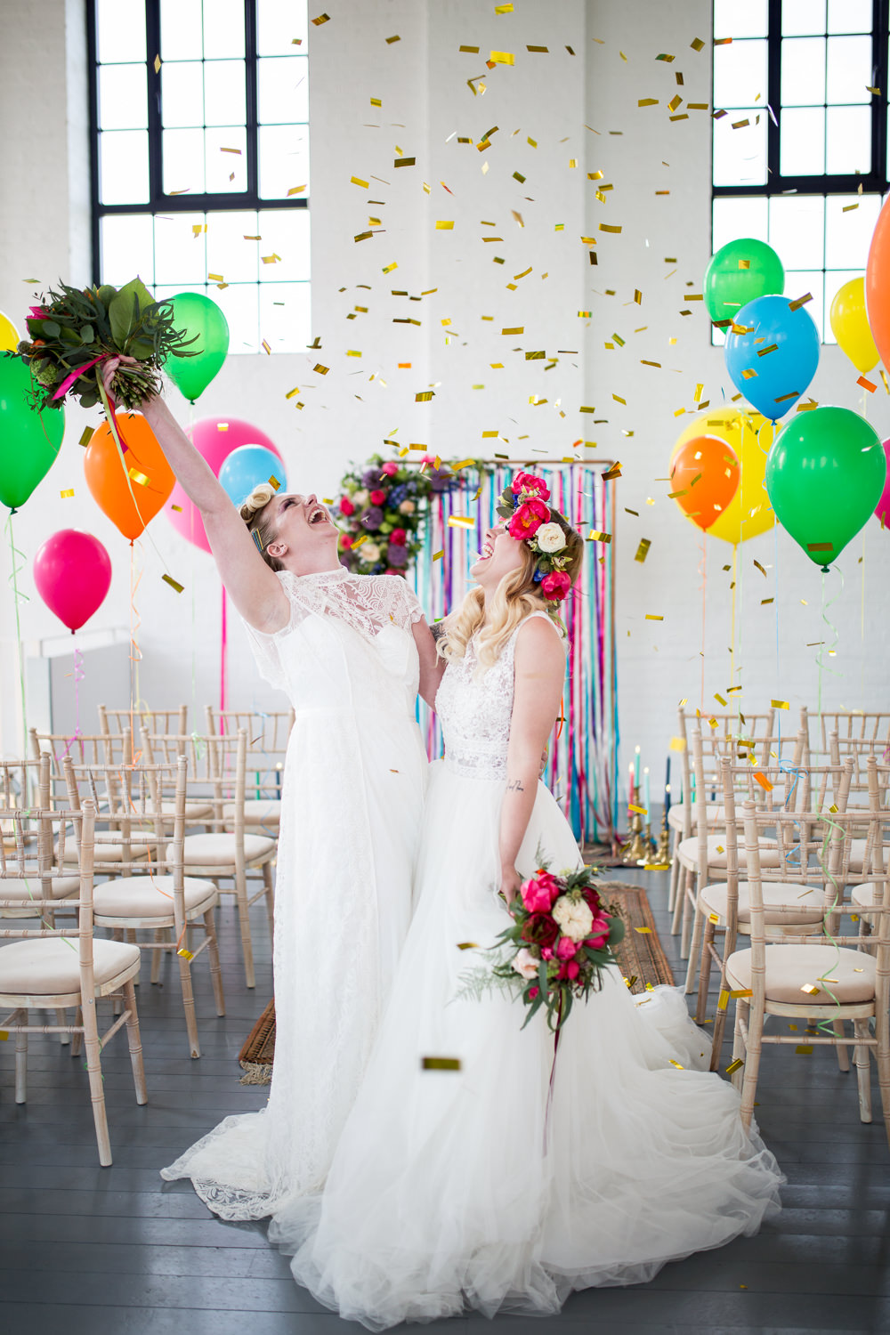 Confetti Colourful Balloons Wedding Ideas Florence Berry Photography