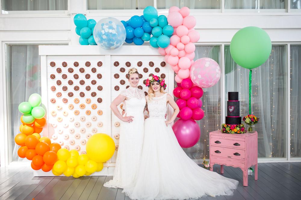 Balloon Installation Backdrop Decor Decoration Colourful Balloons Wedding Ideas Florence Berry Photography