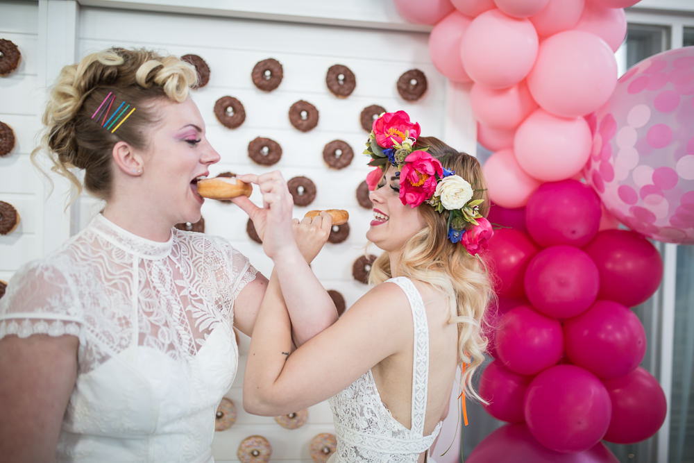 Donut Doughnut Stand Wall Colourful Balloons Wedding Ideas Florence Berry Photography