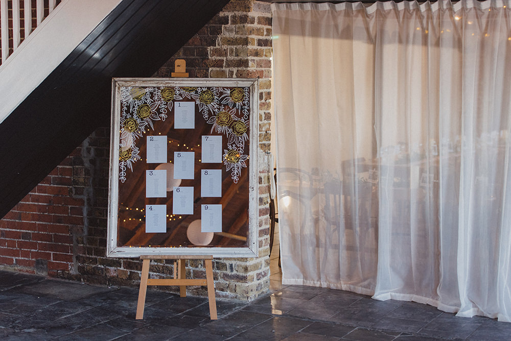 Mirror Seating Plan Table Chart East Quay Whitstable Wedding Rebecca Douglas Photography