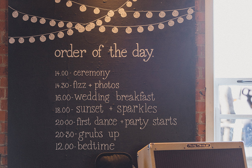 Chalk Board Order of the Day Sign East Quay Whitstable Wedding Rebecca Douglas Photography