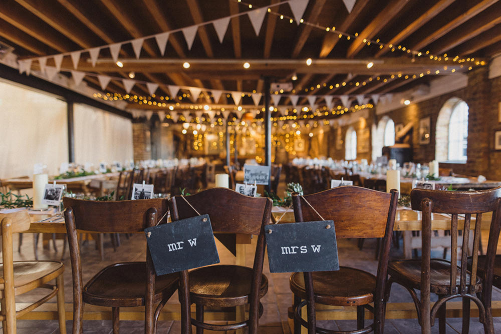 Slate Chalk Signs Chairs East Quay Whitstable Wedding Rebecca Douglas Photography