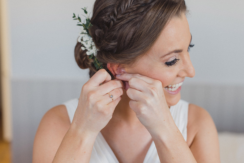Bride Bridal Hair Style Up Do Plait Braid Flowers East Quay Whitstable Wedding Rebecca Douglas Photography
