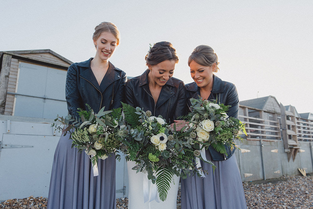 Bridesmaids Bridesmaid Dress Dresses Long Grey Leather Jackets East Quay Whitstable Wedding Rebecca Douglas Photography