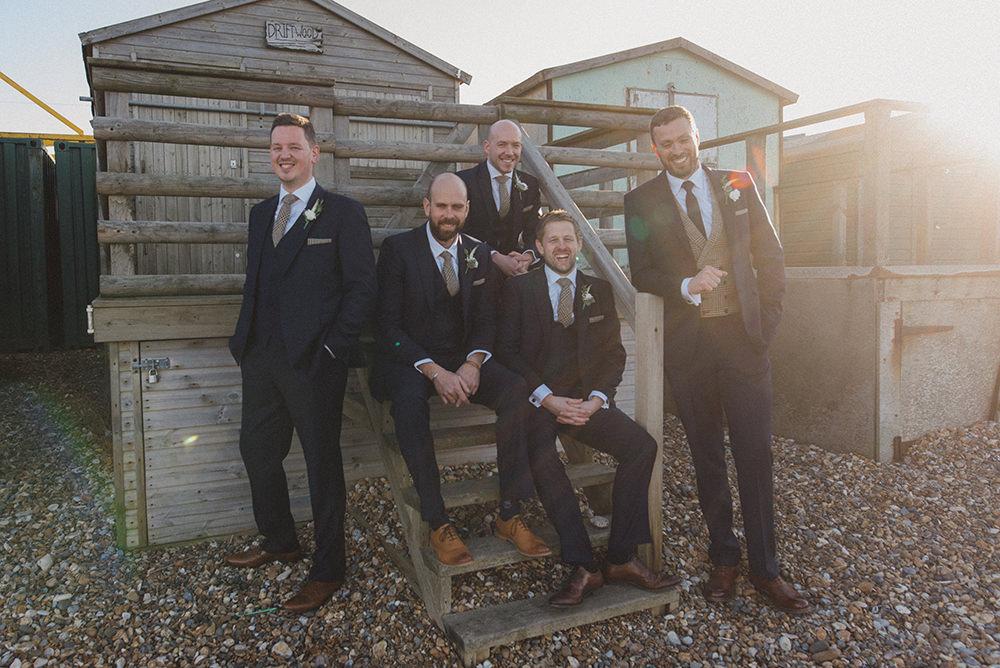 Groom Suit Navy Blue Suit Tweed Waistcoat Groomsmen East Quay Whitstable Wedding Rebecca Douglas Photography