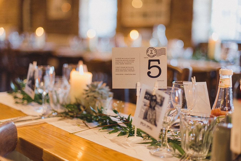 Greenery Foliage Swag Garland Table Runner East Quay Whitstable Wedding Rebecca Douglas Photography