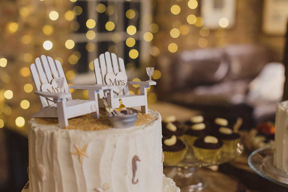Seaside Cake Chairs Topper East Quay Whitstable Wedding Rebecca Douglas Photography
