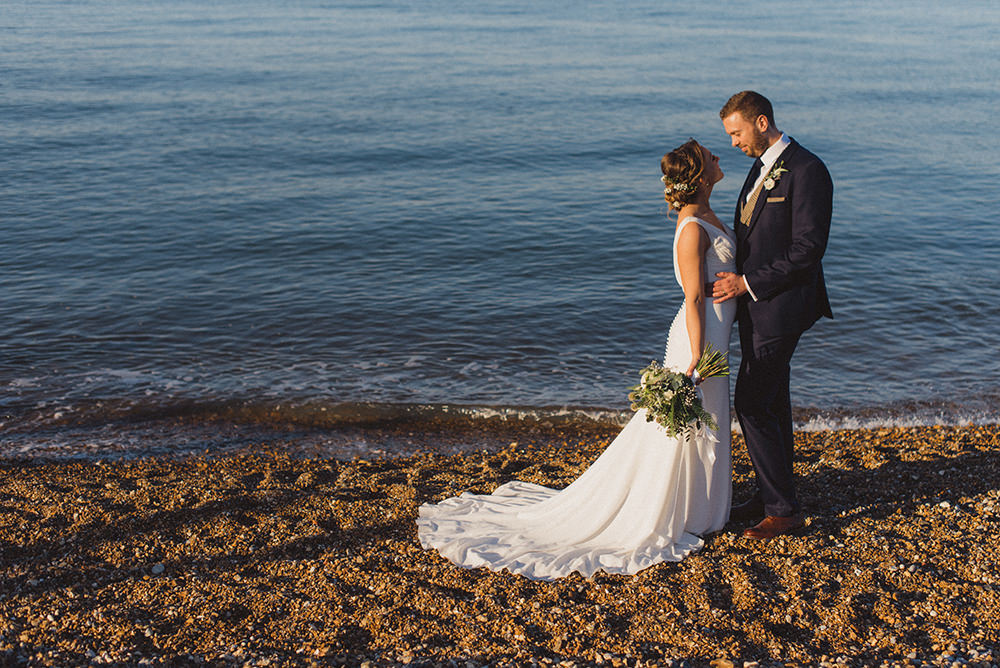 Dress Gown Bride Bridal Straps V Neck Fishtail Train East Quay Whitstable Wedding Rebecca Douglas Photography