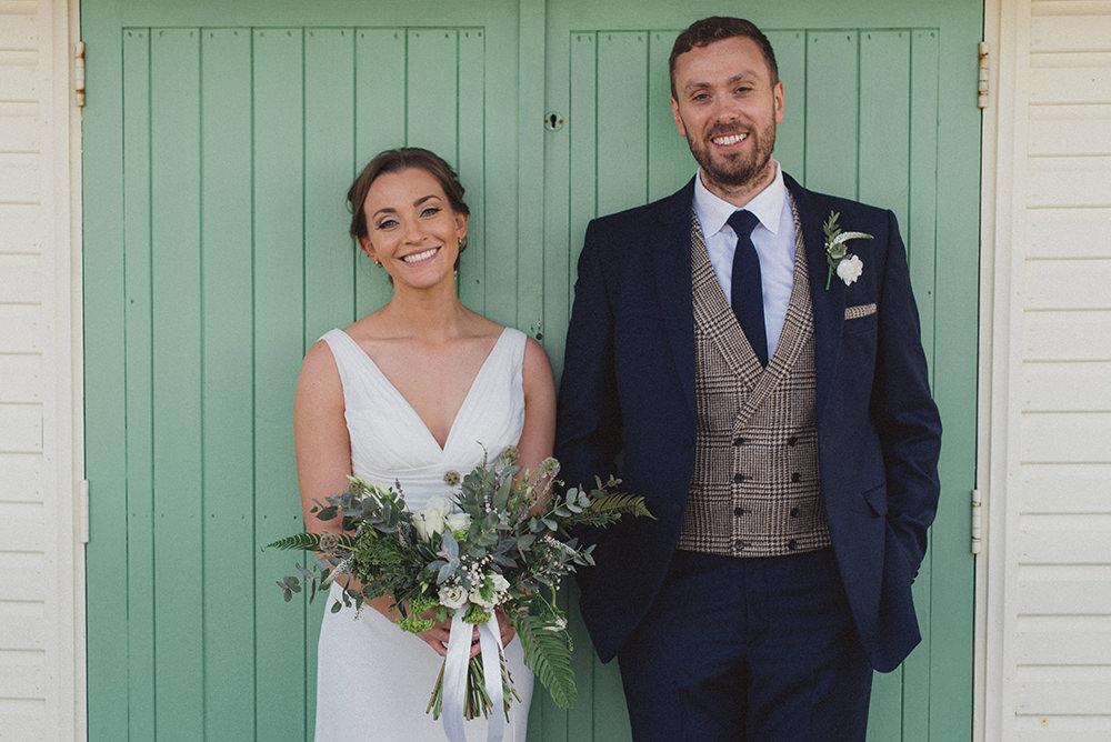 Groom Suit Navy Blue Suit Tweed Waistcoat East Quay Whitstable Wedding Rebecca Douglas Photography