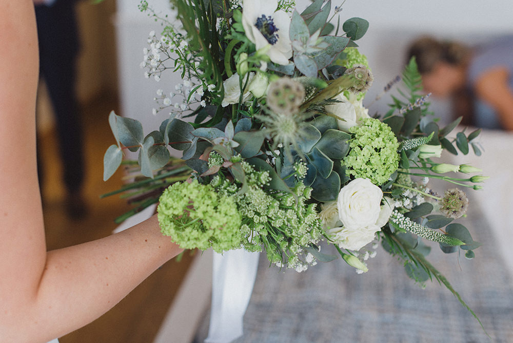 Bouquet Flowers Bride Bridal Greenery Foliage Succulent Rose Anemone East Quay Whitstable Wedding Rebecca Douglas Photography