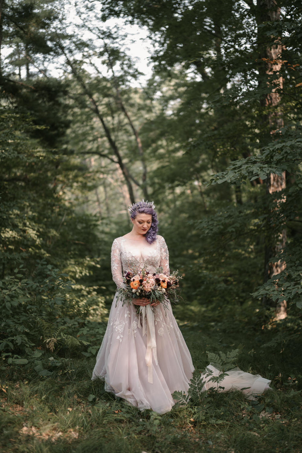 Bride Bridal Dress Gown Long Sleeves Lace Hayley Paige Train Fantasy Nerdy Wedding Eric Lundgren Photography