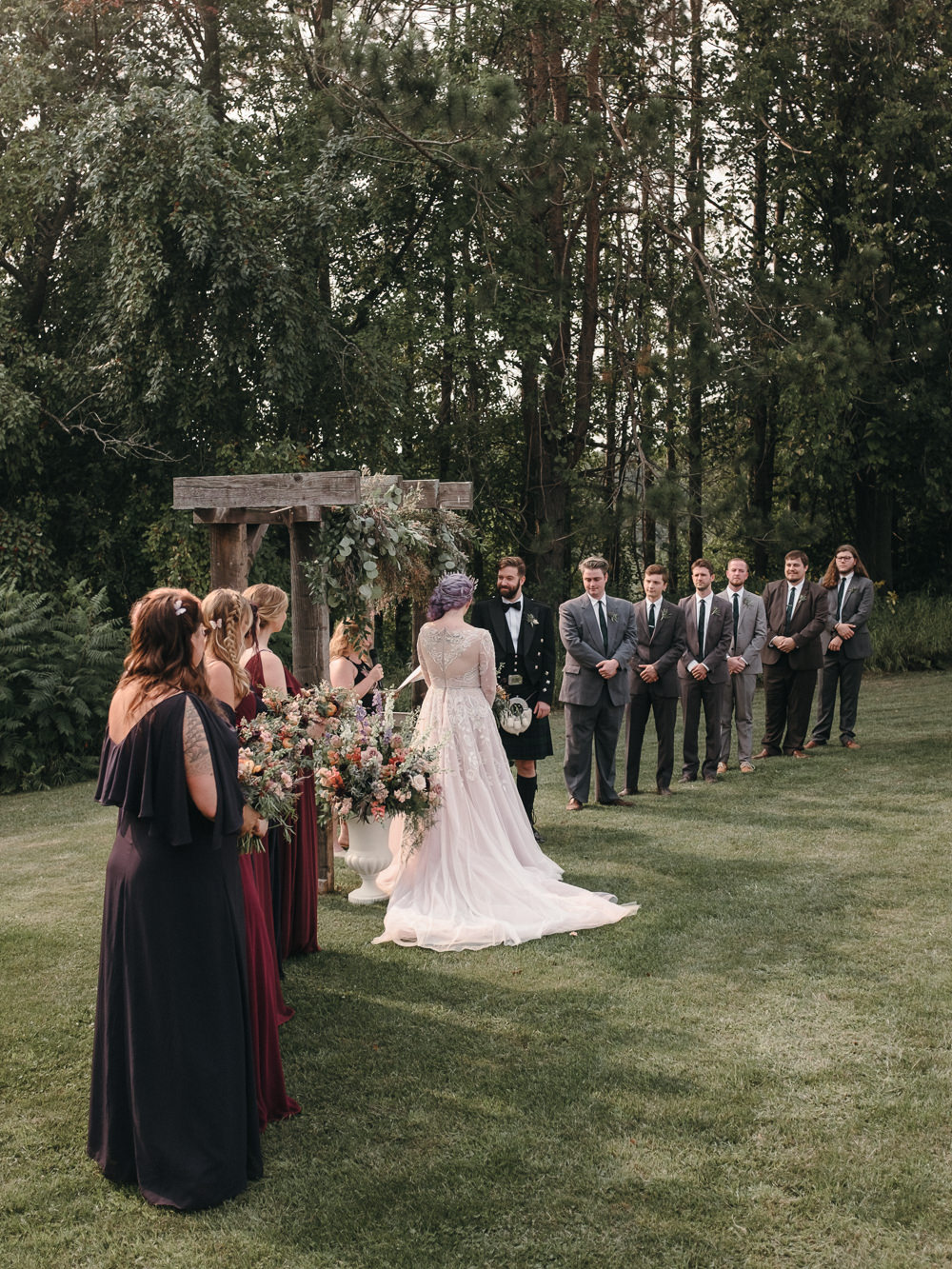 Flowers Ceremony Aisle Flower Arch Arbour Fantasy Nerdy Wedding Eric Lundgren Photography