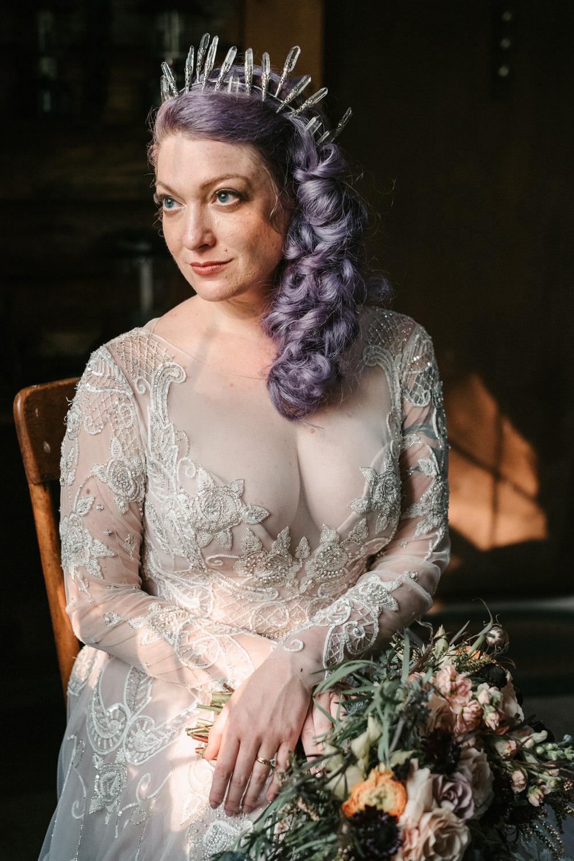 Bride Bridal Hair Long Lilac Purple Plait Braid Pony Tail Crown Tiara Fantasy Nerdy Wedding Eric Lundgren Photography
