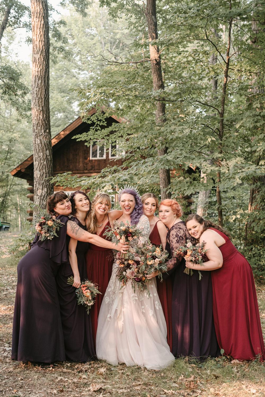 Bridesmaids Bridesmaid Dress Dresses Burgundy Plum Fantasy Nerdy Wedding Eric Lundgren Photography