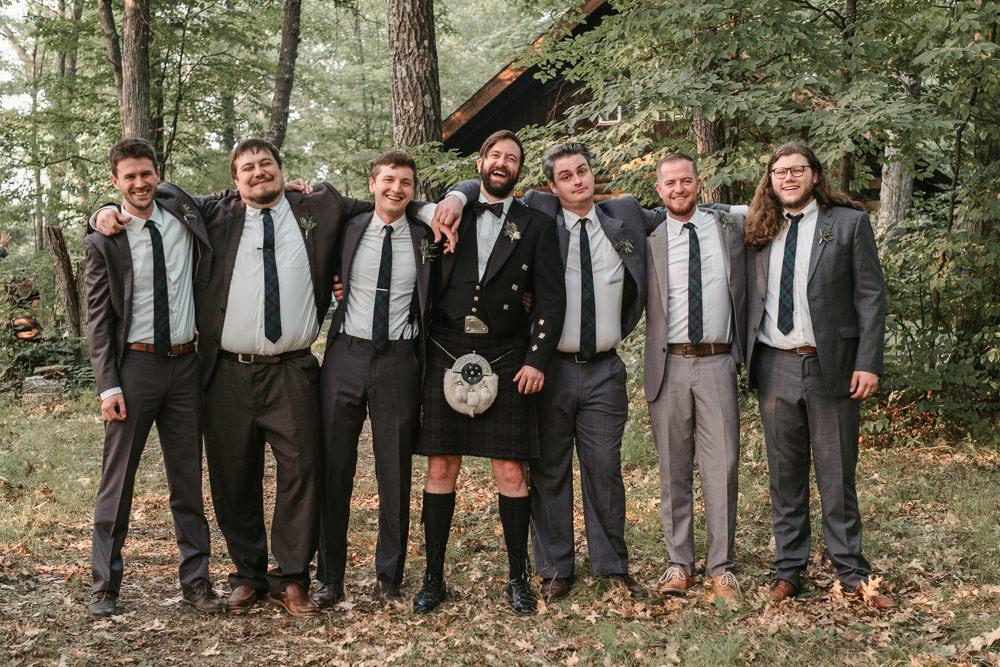 Groomsmen Grey Suits Fantasy Nerdy Wedding Eric Lundgren Photography