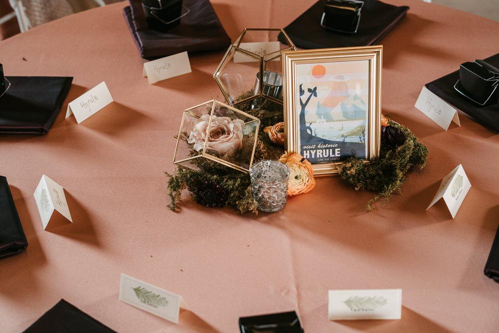 Centrepiece Terrarium Moss Flowers Candles Decor Fantasy Nerdy Wedding Eric Lundgren Photography