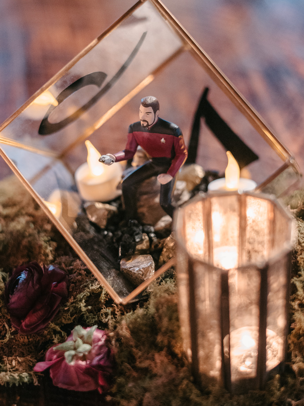 Terraruim Decor Moss Candles Figurine Fantasy Nerdy Wedding Eric Lundgren Photography