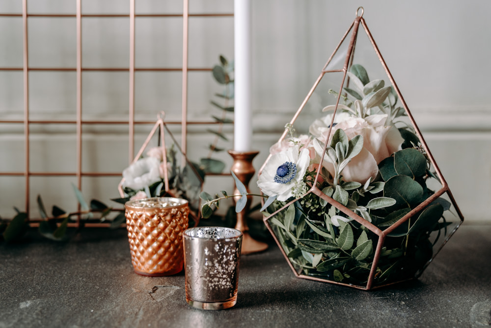Terrarium Flowers Copper Candles Decor Decoration Free Spirited Wedding Ideas EKR Pictures