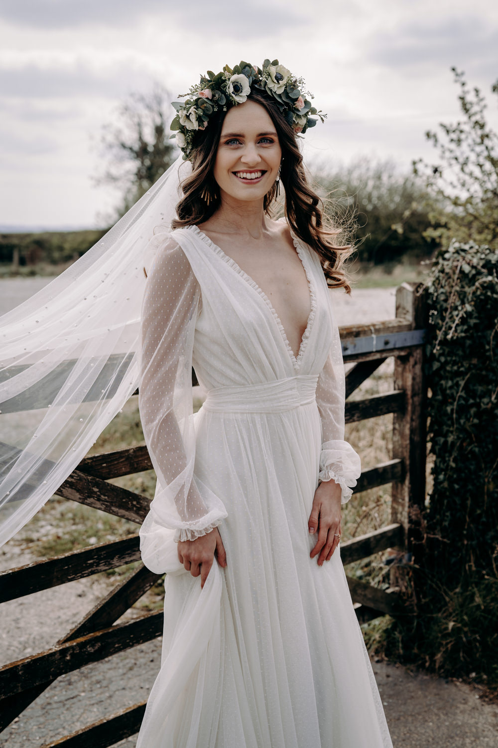 Bride Bridal Dress Gown Kula Tsurdiu Tulle Long Sleeves Train Veil Free Spirited Wedding Ideas EKR Pictures