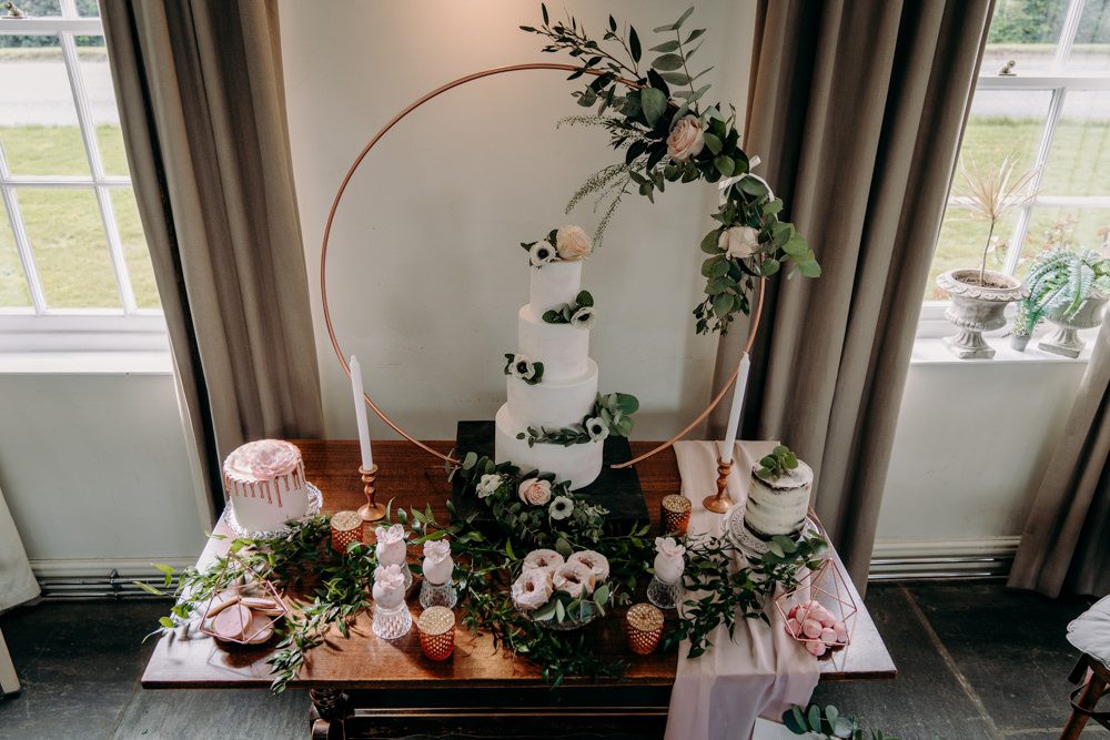 Cake Table Hoop Backdrop Greenery Foliage Flowers Decor Dessert Free Spirited Wedding Ideas EKR Pictures