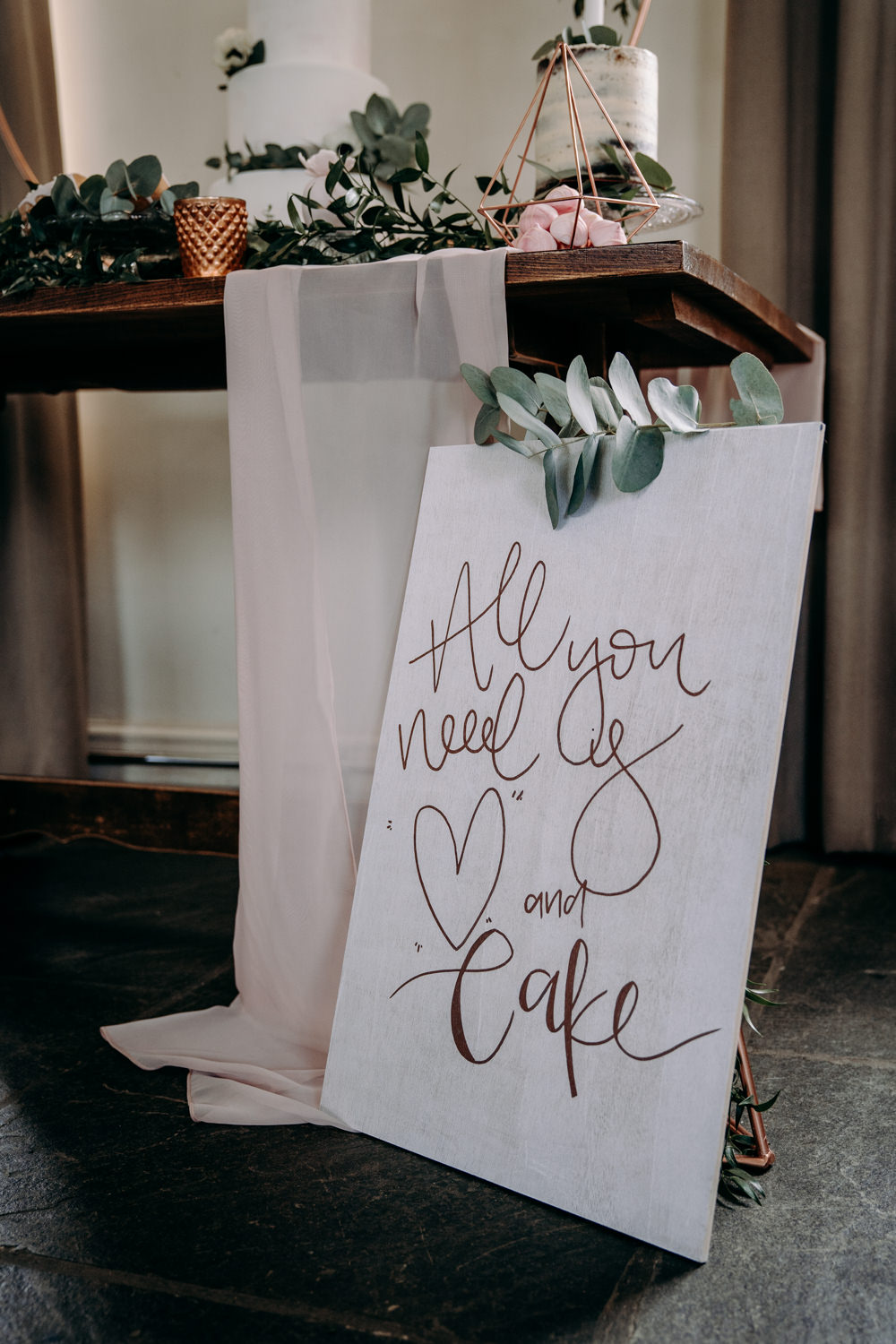 Love Quote Sign Copper Rose Gold Free Spirited Wedding Ideas EKR Pictures