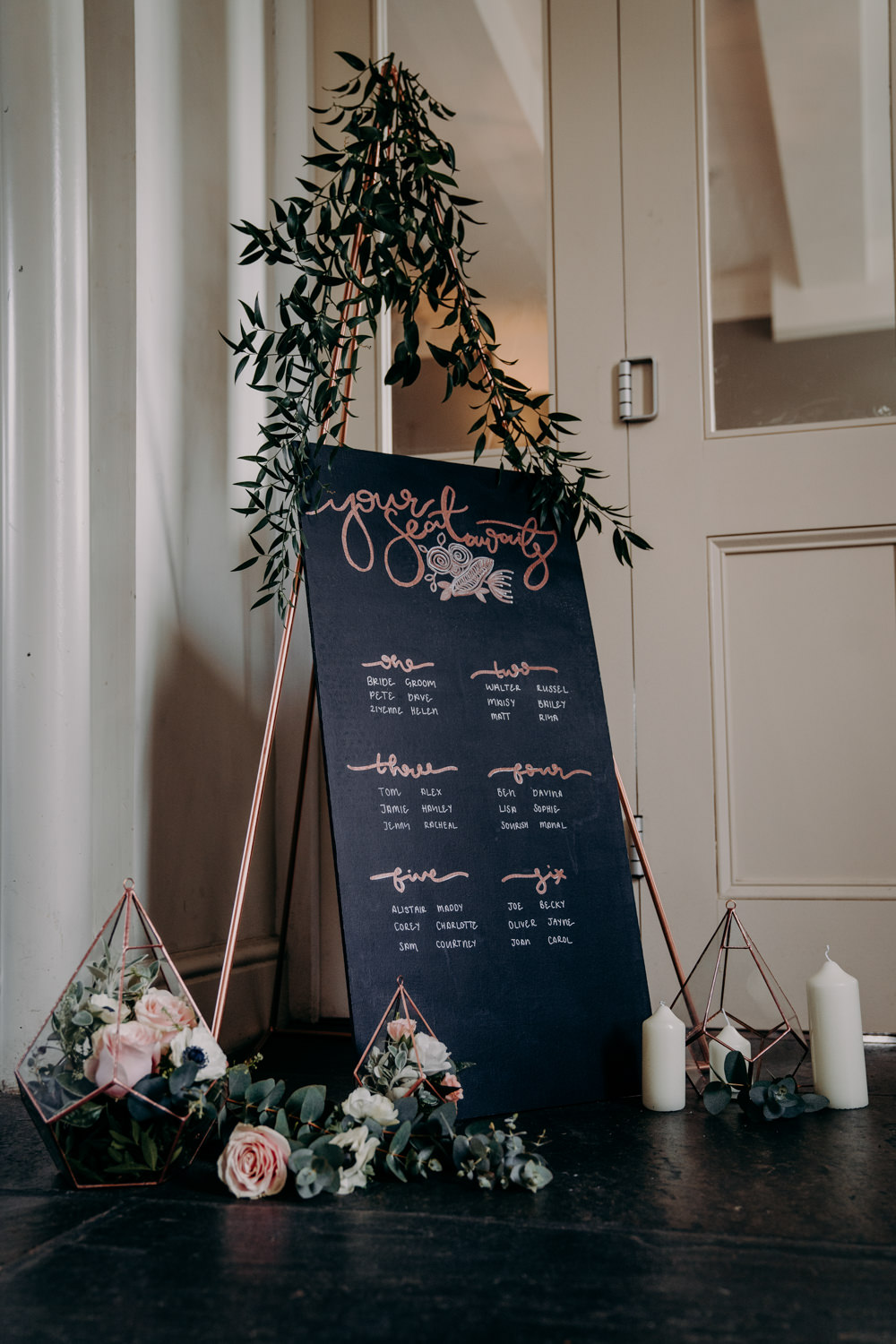 Copper Rose Gold Flowers Chalk Board Seating Plan Table Chart Free Spirited Wedding Ideas EKR Pictures