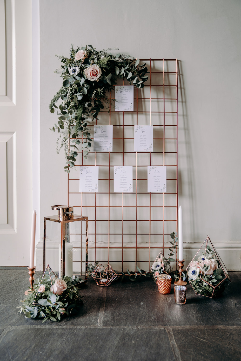 Copper Wire Mesh Seating Plan Table Chart Flowers Free Spirited Wedding Ideas EKR Pictures
