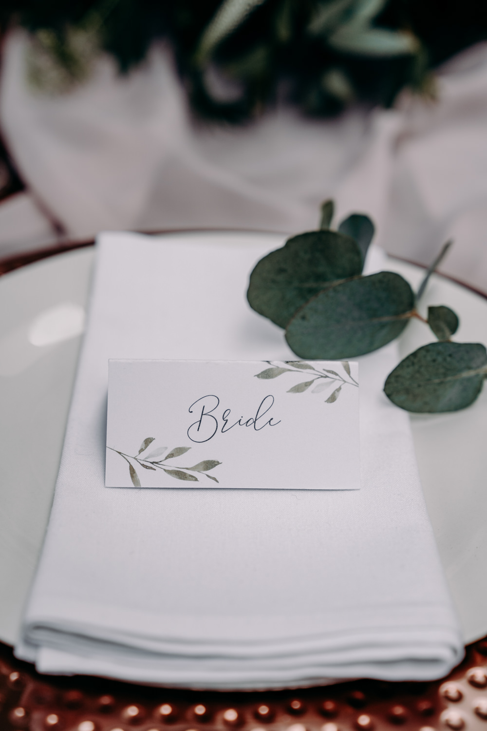 Place Setting Greenery Name Tag Card Name Calligraphy Free Spirited Wedding Ideas EKR Pictures