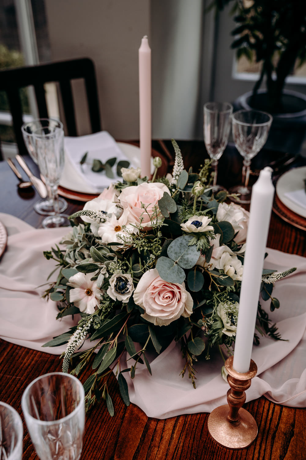 Wooden Rustic Table Tablescape Copper Pink Candles Flowers Runner Free Spirited Wedding Ideas EKR Pictures