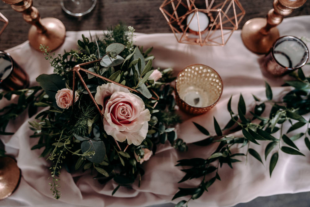 Terrarium Flowers Copper Candles Decor Decoration Silk Runner Free Spirited Wedding Ideas EKR Pictures