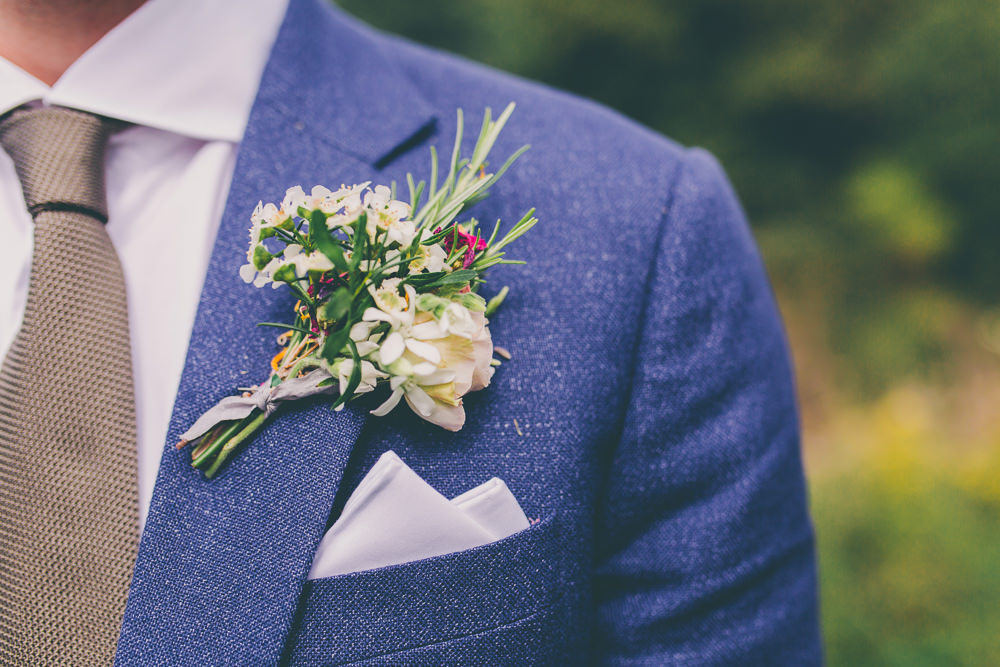 Buttonhole Flowers Groom Rosemary Ribbon High Billinghurst Farm Wedding Larissa Joice Photography