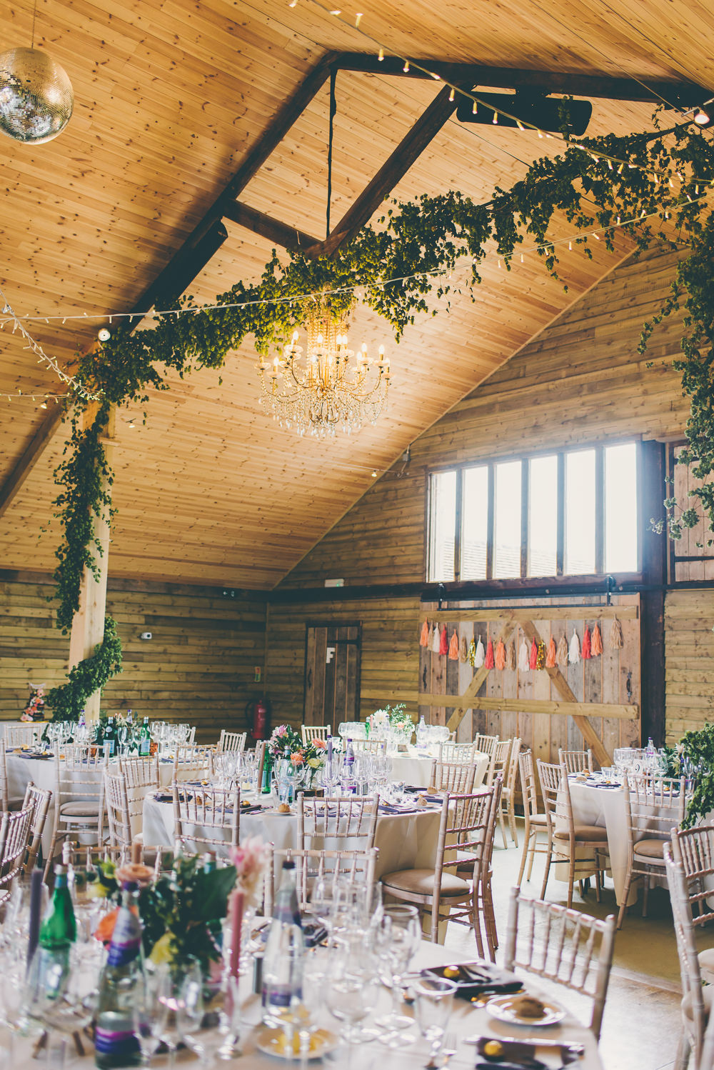 Barn Decor Decoration Fairy Lights Greenery Foliage High Billinghurst Farm Wedding Larissa Joice Photography