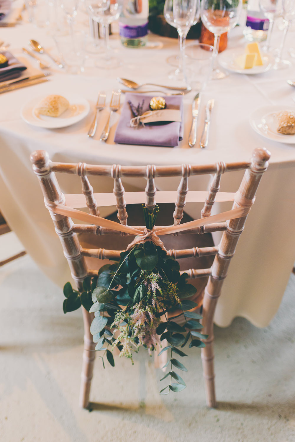 Chair Flowers Backs Greenery Foliage Ribbon High Billinghurst Farm Wedding Larissa Joice Photography