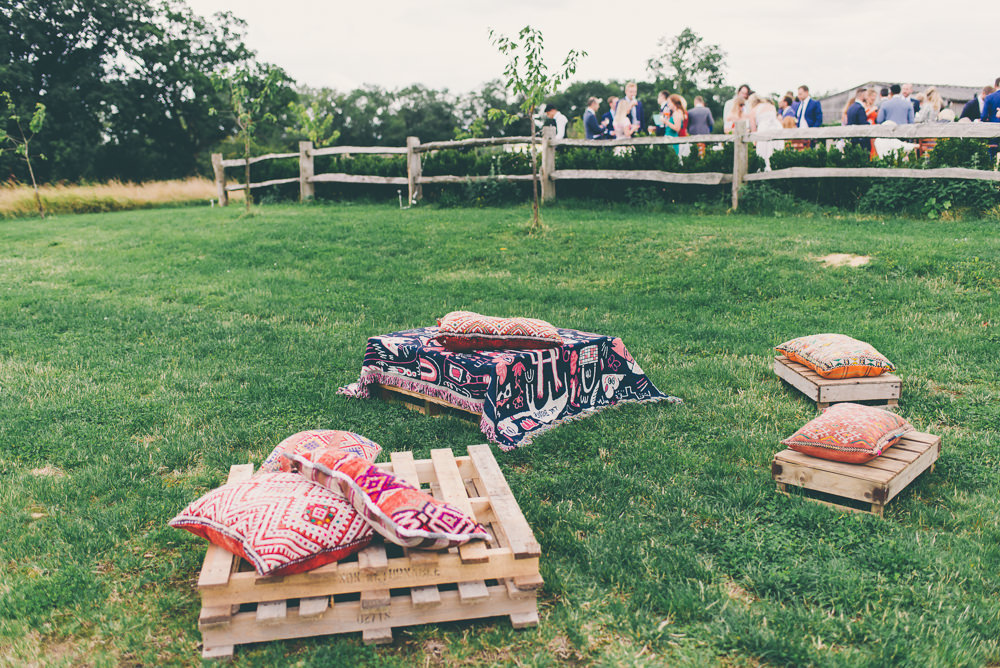 Wooden Pallet Seats Seating Area High Billinghurst Farm Wedding Larissa Joice Photography