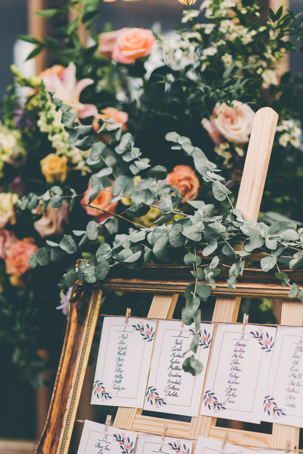 Table Plan Seating Chart Frame Pegs Twine Greenery Foliage Eucalyptus High Billinghurst Farm Wedding Larissa Joice Photography