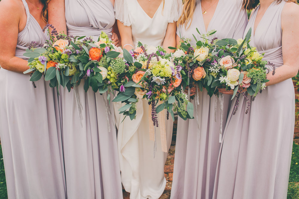 Bouquet Flowers Bride Bridal Peach Purple Rose Bridesmaids High Billinghurst Farm Wedding Larissa Joice Photography