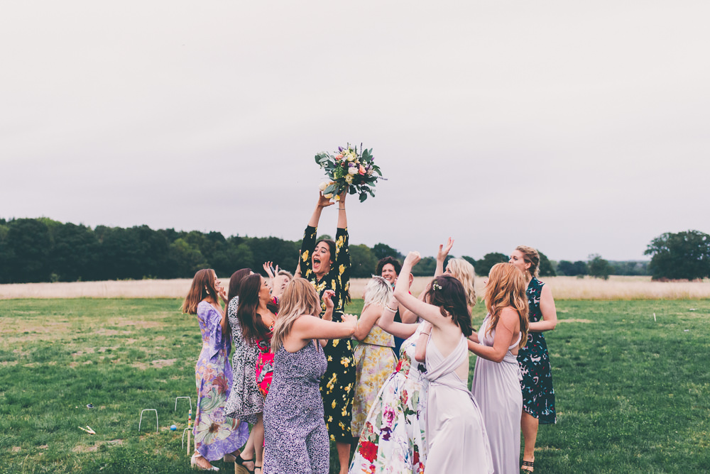 Bouquet Toss Throw High Billinghurst Farm Wedding Larissa Joice Photography